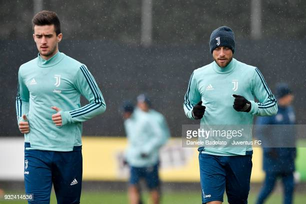 Arnel Jakupovic and Claudio Marchisio during a Juventus training session at Juventus Center Vinovo on March 15 2018 in Vinovo Italy
