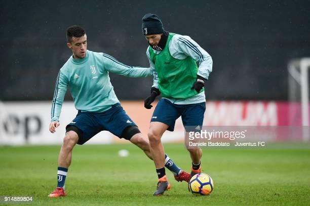 Arnel Jakupovic and Federico Bernardeschi during a Juventus Training Session at Juventus Center Vinovo on February 6 2018 in Vinovo Italy