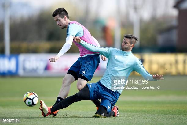 Arnel Jakupovic and Rodrigo Bentancur during a Juventus training session at Juventus Center Vinovo on March 12 2018 in Vinovo Italy