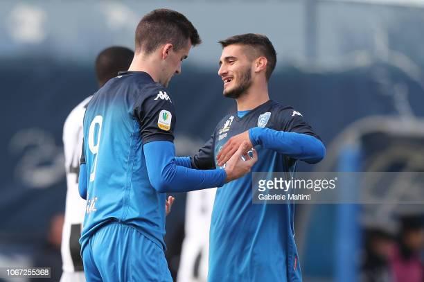 Arnel Jakupovic of Empoli U19 celebrates after scoring a goal during the match between Empoli U19 and Juventus U19 on December 1 2018 in Empoli Italy