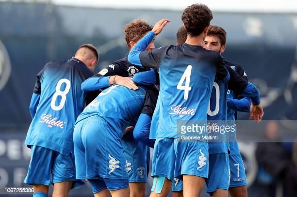 Arnel Jakupovic of Empoli U19 celebrates after scoring a goal during the match between Empoli U19 on December 1 2018 in Empoli Italy