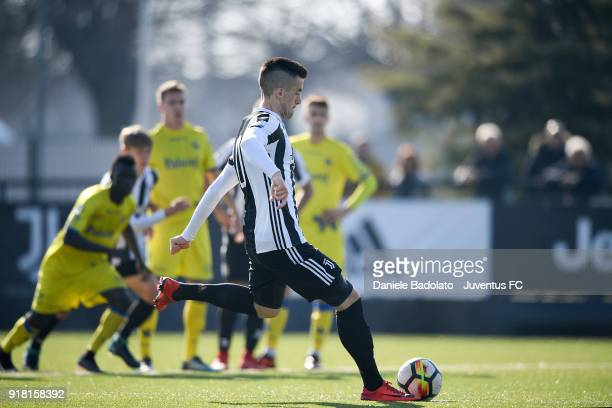 Arnel Jakupovic scores 10 goal during the Serie A Primavera match between Juventus U19 and ChievoVerona U19 on February 10 2018 in Vinovo Italy