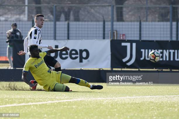 Arnel Jakupovic scores 20 gaol during the Serie A Primavera match between Juventus U19 and ChievoVerona U19 on February 10 2018 in Vinovo Italy