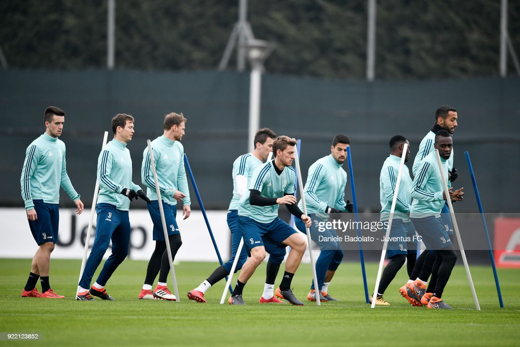 Arnel Jakupovic , Stephan Lichtsteiner, Benedikt Howedes , Daniele Rugani, Sami Khedira and Blaise Matuidi at Juventus Center Vinovo on February 21, 2018 in Vinovo, Italy.