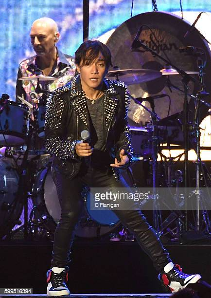 Arnel Pineda and Drummer Steve Smith of Journey perform during the San Francisco Fest 2016 On The Green at ATT Park on September 4 2016 in San...