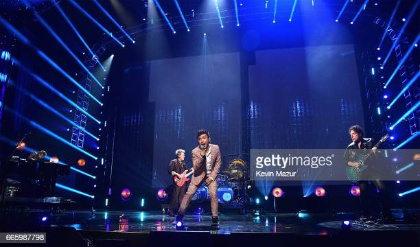 Arnel Pineda and Inductee Neal Schon of Journey perform onstage during the 32nd Annual Rock Roll Hall Of Fame Induction Ceremony at Barclays Center...