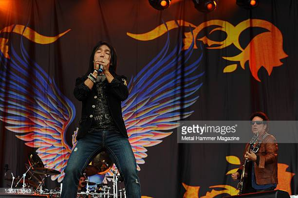 Arnel Pineda and Neal Schon of Journey performing live on stage at Download Festival, taken on June 14, 2009. (Photo by Rob Monk/Metal Hammer...
