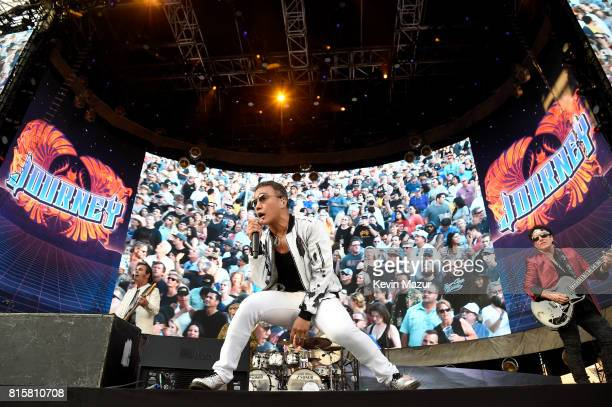 Arnel Pineda and Neal Schon of Journey performs onstage during The Classic West at Dodger Stadium on July 16 2017 in Los Angeles California