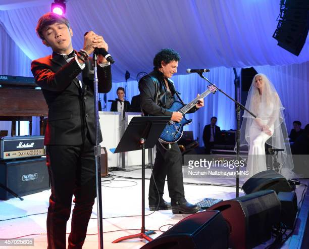 Arnel Pineda and Neal Schon perform for Michaele Schon during the wedding of Michaele Schon and Neal Schon at the Palace of Fine Arts on December 15...