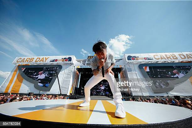 Arnel Pineda of Journey performs at the Indianapolis Motor Speedway on May 27 2016 in Indianapolis Indiana
