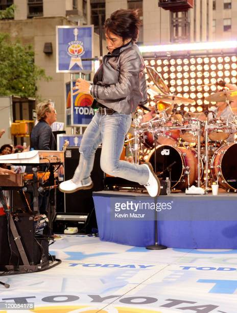 Arnel Pineda of Journey performs on NBC's Today at Rockefeller Center on July 29 2011 in New York City