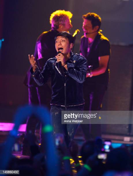 Arnel Pineda of Journey performs onstage at the 2012 CMT Music awards at the Bridgestone Arena on June 6 2012 in Nashville Tennessee