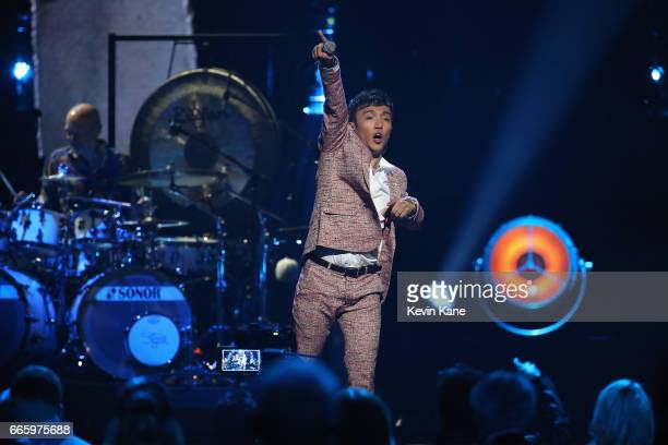 Arnel Pineda performs with 2017 Inductee Journey onstage at the 32nd Annual Rock Roll Hall Of Fame Induction Ceremony at Barclays Center on April 7...