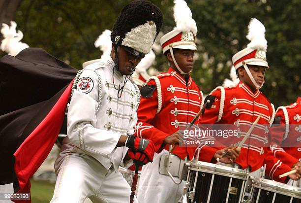 Arnell Diggs, drum major for Dunbar High School Marching Pride, perform during a rally in Upper Senate Park, for more than 600 members of Mothers...