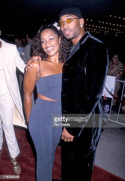 Arnelle Simpson and date Tony Smith attend the Why Do Fools Fall In Love Century City Premiere on August 26 1998 at the Cineplex Odeon Century Plaza...