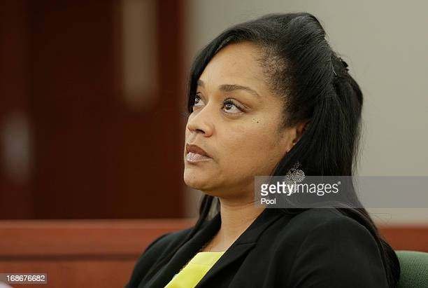 Arnelle Simpson daughter of OJ Simpson testifies during an evidentiary hearing in Clark County District Court on May 13 2013 in Las Vegas Nevada...