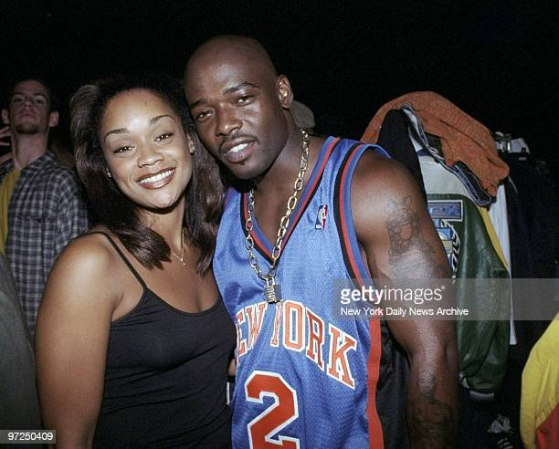 Arnelle Simpson gets together with rapper Treach backstage at the Vibe magazine Seminar Fashion Show at the WaldorfAstoria Simpson a stylist was...