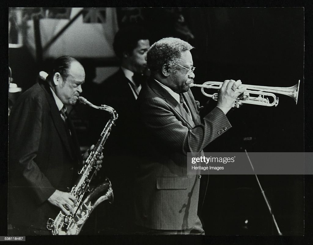 Arnett Cobb and Wallace Davenport playing at the Capital Radio Jazz Festival, Knebworth, 1981. . : News Photo