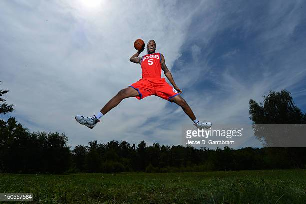 Arnett Moultre of the Philadelphia 76ers poses for a portrait during the 2012 NBA rookie photo shoot on August 21 2012 at the MSG Training Facility...