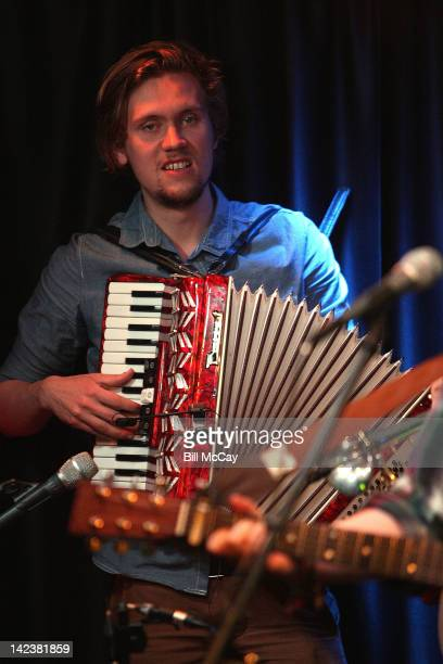 Arni Gudjonsson from the band Of Monsters And Men performs at Radio Staion WRFF iHeartRadio Performance Theater April 3 2012 in Bala Cynwyd...