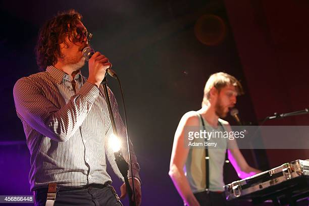 Arni Vilhjalmsson and Arni Runar Hlodversson of the Icelandic electropop band FM Belfast perform during a concert at Astra on October 8 2014 in...