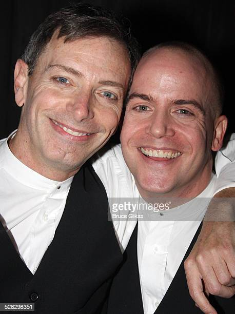 Arnie Burton and Jeffrey Kuhn pose backstage as Alfred Hitchcock's hit comedy 39 Steps returns to Broadway at the Helen Hayes Theatre on January 21...
