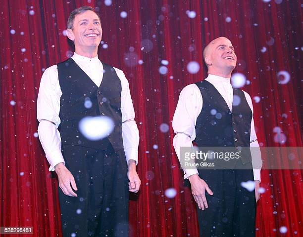 Arnie Burton and Jeffrey Kuhn take the curtain call at Alfred Hitchcock's hit comedy 39 Steps returns to Broadway at the Helen Hayes Theatre on...
