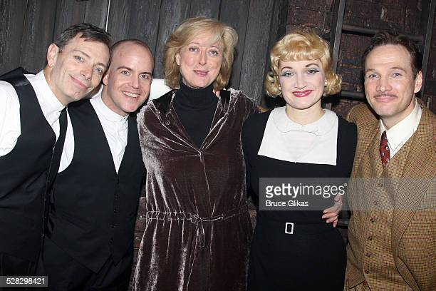 Arnie Burton Jeffrey Kuhn director Maria Aitken Francesca Faridany and Sean Mahon pose backstage as Alfred Hitchcock's hit comedy 39 Steps returns to...