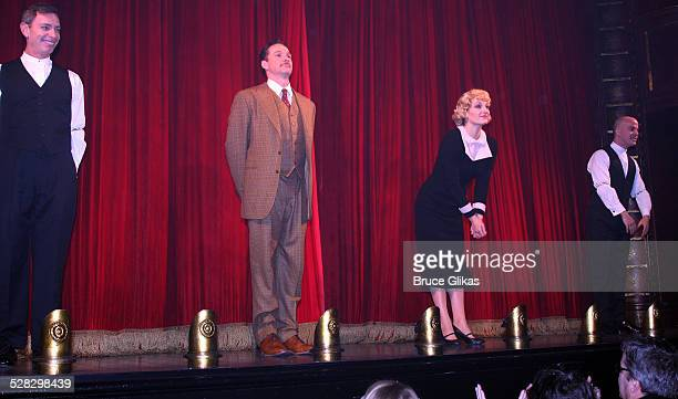 Arnie Burton Sean Mahon Francesca Faridany and Jeffrey Kuhn take the curtain call at Alfred Hitchcock's hit comedy 39 Steps returns to Broadway at...