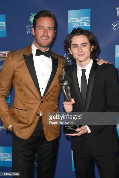 Arnie Hammer and Timothee Chalamet attend the 29th Annual Palm Springs International Film Festival Awards Gala at Palm Springs Convention Center on...
