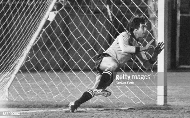 Arnie Mausser's 1st Confrontation w/ penalty goal he stopped ball but kick was retaken on reference ruling Credit Denver Post