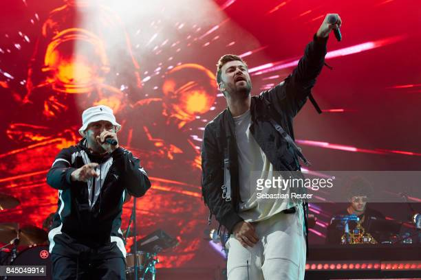 Arnim Teutoburg-Weiss of the Beatsteaks and Marteria perform live on stage during the first day of the Lollapalooza Berlin music festival on...