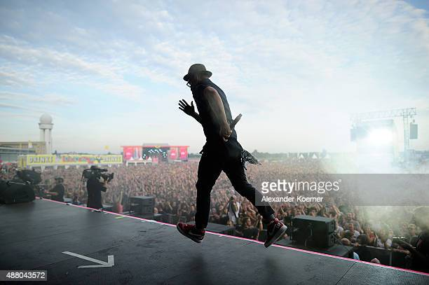 Arnim Teutoburg-Weiss, singer of the band Beatsteaks performs, live on stage during the second day of the Lollapalooza Berlin music festival at...