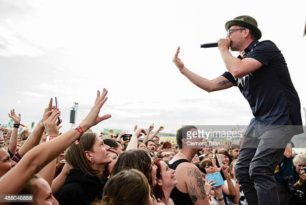 Arnim Teutoburg-Weiss, singer of the band Beatsteaks, performs live on stage during the second day of the Lollapalooza Berlin music festival at...