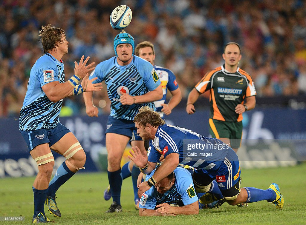 Arno Botha of the Bulls collects the ball during the Super Rugby match between Vodacom Bulls and DHL Stormers from Loftus Versfeld Stadium on February 22, 2013 in Pretoria, South Africa.