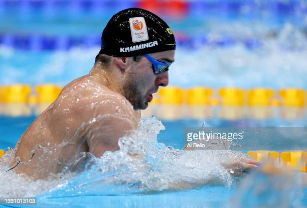 Arno Kamminga of Team Netherlands competes in the Men's 200m Breaststroke Semifinal on day five of the Tokyo 2020 Olympic Games at Tokyo Aquatics...