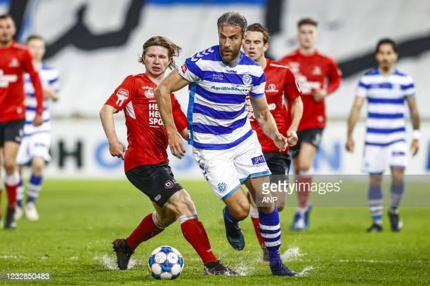 Arno van Keilegom of Helmond Sport, Ralf Seuntjens or De Graafschap during the Dutch Kitchen champion division match between De Graafschap and...