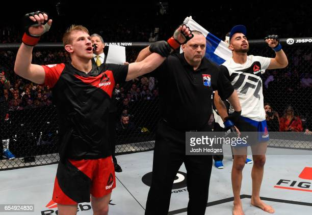 Arnold Allen of England celebrates his victory over Makwan Amirkhani of Finland in their featherweight fight during the UFC Fight Night event at The...