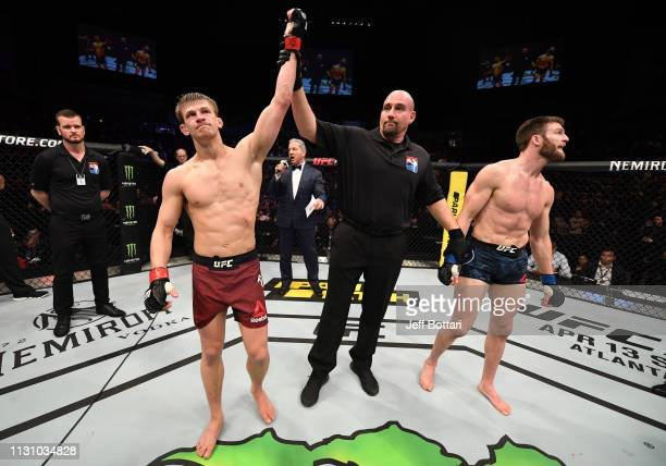 Arnold Allen of England reacts after his victory over Jordan Rinaldi in their featherweight bout during the UFC Fight Night event at The O2 Arena on...