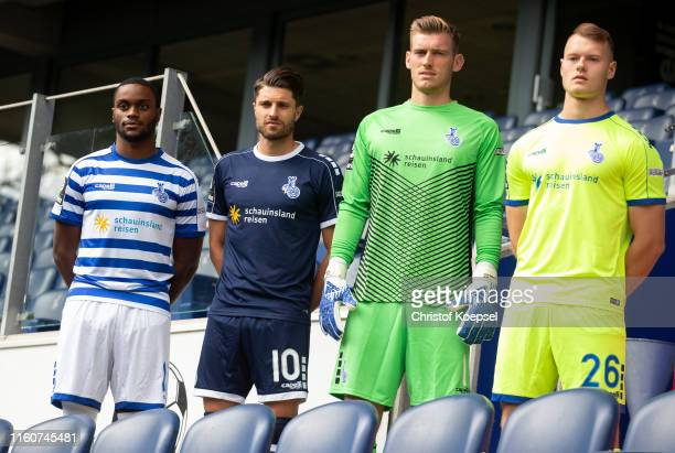 Arnold Budimbu Moritz Stoppelkamp Leo Weinkauf and Vincent Gembalies pose with the new equipment supplier Capelli and the official jerseys during the...