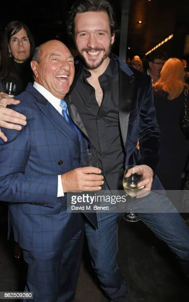 Arnold Crook and cast member David Oakes attend the press night after party for Venus In Fur at Mint Leaf on October 17 2017 in London England