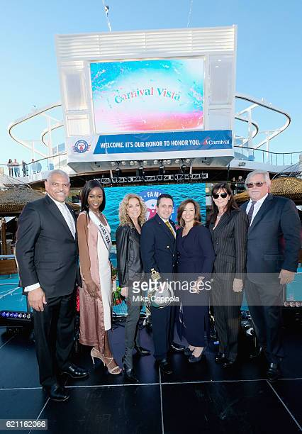 Arnold Donald Deshauna Barber Kathie Lee Gifford Luigi De Angelis Christine Duffy Madeleine Arison and Micky Arison attend the Carnival Vista US...