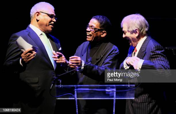Arnold Donald Herbie Hancock and Stuart Subotnick present third place winner Maxime Sanchez during the 2018 Thelonious Monk Institute Of Jazz...