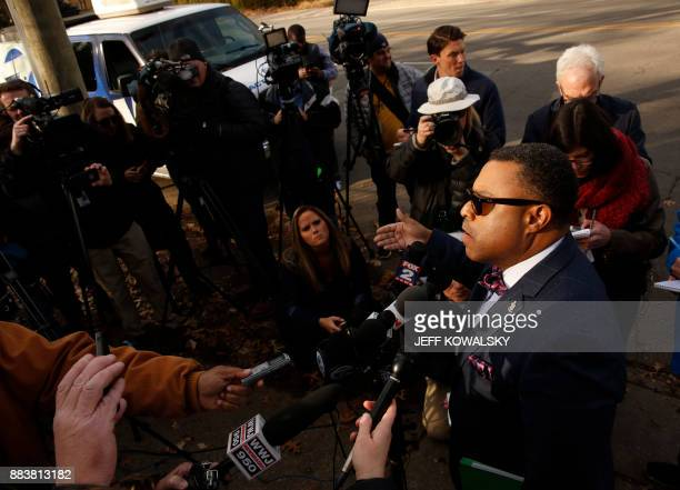 Arnold E Reed attorney for US Rep John Conyers talks to reporters outside Conyer's house on December 1 2017 in Detroit Reed said Conyers is still in...