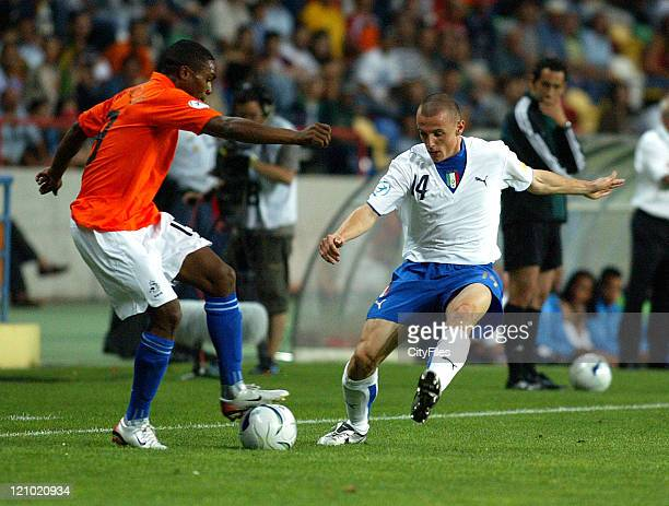 Arnold Kruiswijk left of Holland and Marino Defendi of Italy during the 2006 UEFA European Under 21 Championship Group B match between Italy and...
