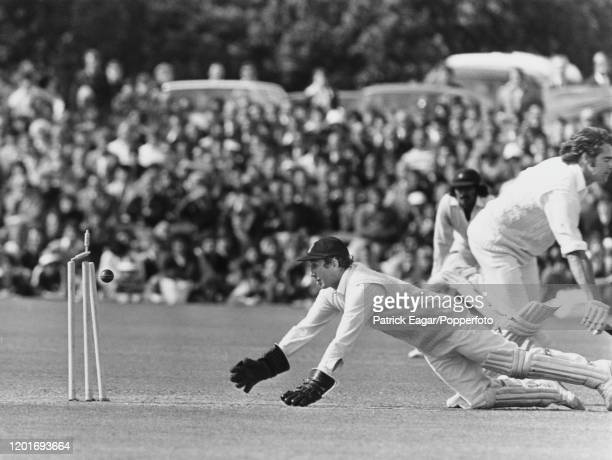Arnold Long, wicketkeeper for Sussex, in action during the Quarter Final of the Benson and Hedges Cup against Kent at Canterbury on 8th June 1977.