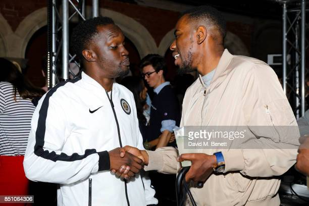 Arnold Oceng and Guest attend the Champion London flagship store launch after party at The Welsh Chapel on September 21 2017 in London England