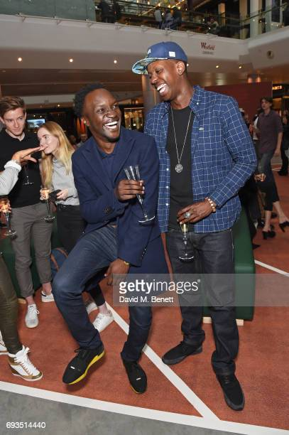 Arnold Oceng and Jamal Edwards attend the Lacoste VIP Exhibition Launch Westfield London at Westfield London on June 7 2017 in London England