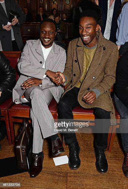 Arnold Oceng and Nathan StewartJarrett attend the Pringe Of Scotland Autumn/Winter 2014 menswear runway show during London Collections Men at Middle...