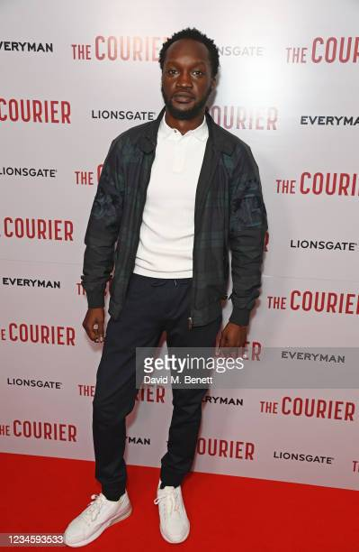 """Arnold Oceng attends a gala screening of """"The Courier"""" at The Everyman Broadgate on August 9, 2021 in London, England."""